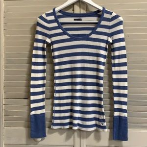American Eagle Outfitters Blue Striped Thermal